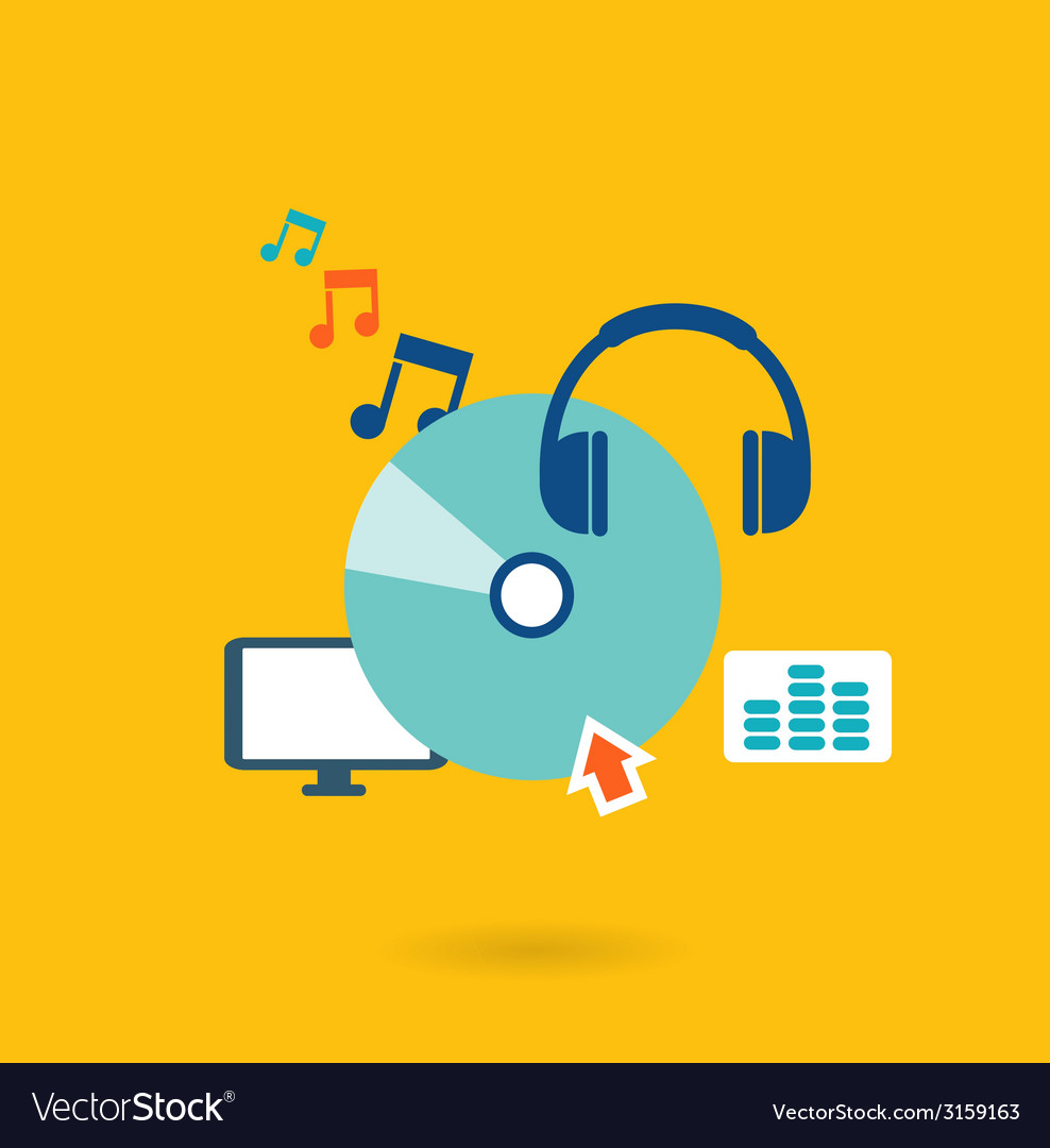 Flat design concept for listening to music vector | Price: 1 Credit (USD $1)