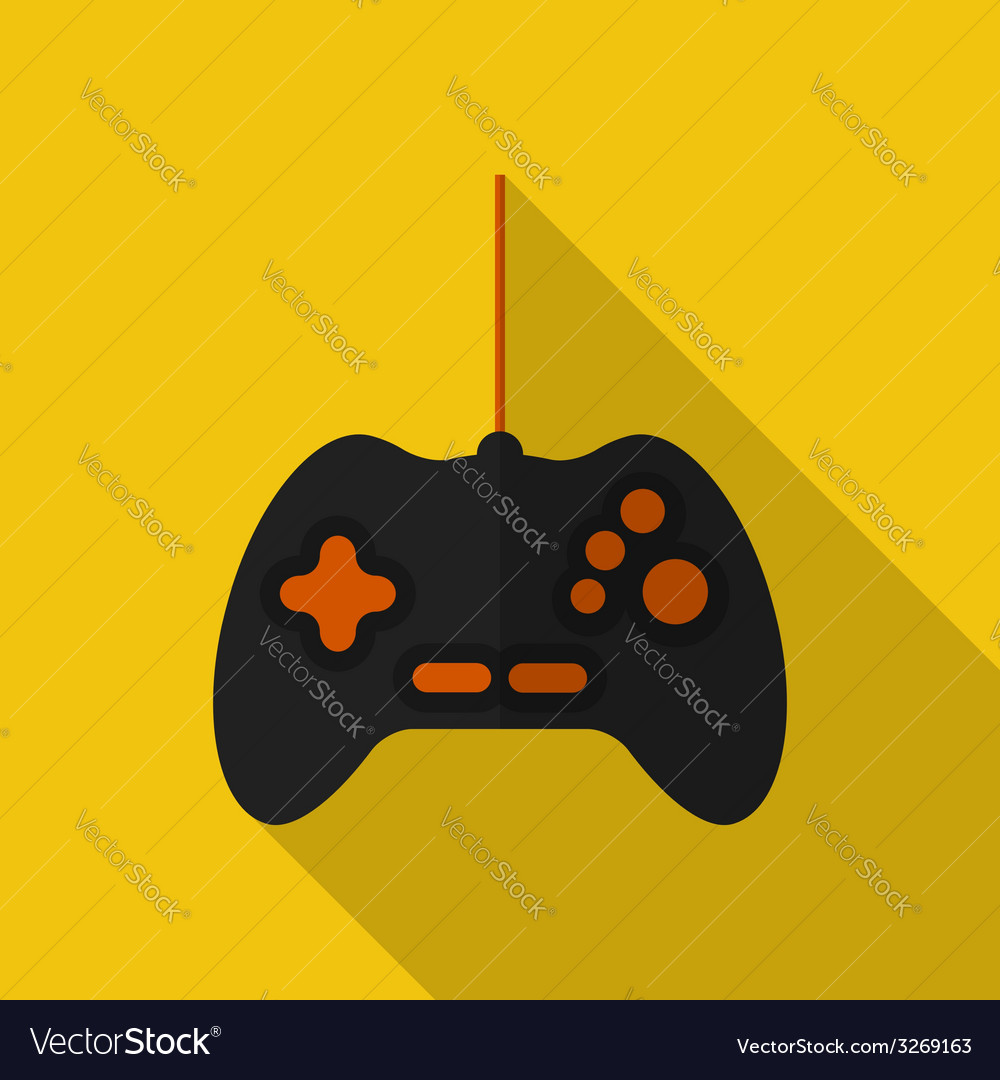 Flat gamepad with long shadow icon vector | Price: 1 Credit (USD $1)