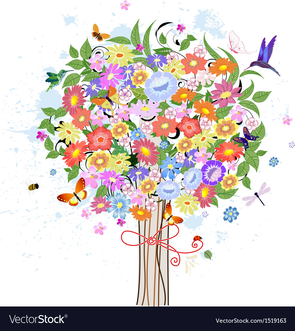 Flower decorative tree with birds vector | Price: 1 Credit (USD $1)