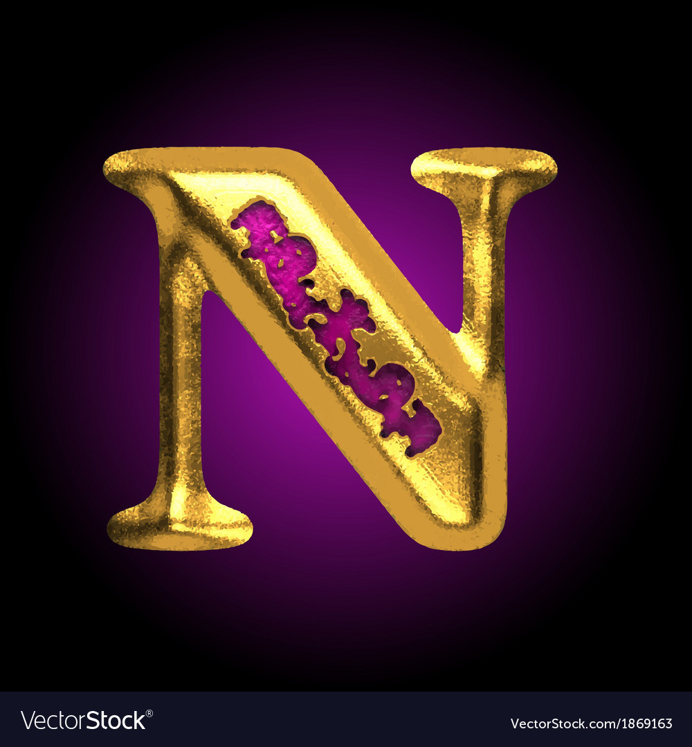 Golden letter n vector   Price: 1 Credit (USD $1)