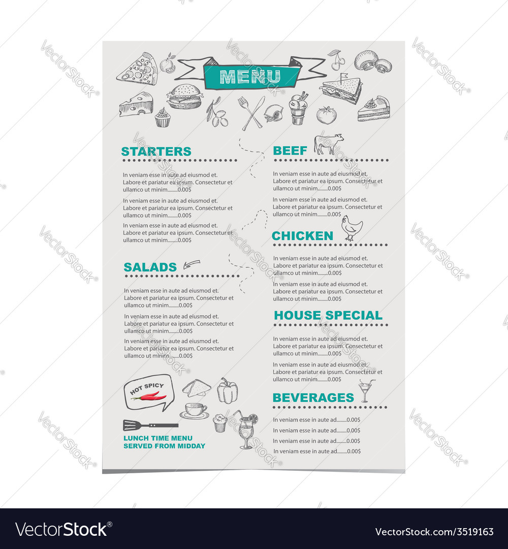 Menu template vector   Price: 1 Credit (USD $1)