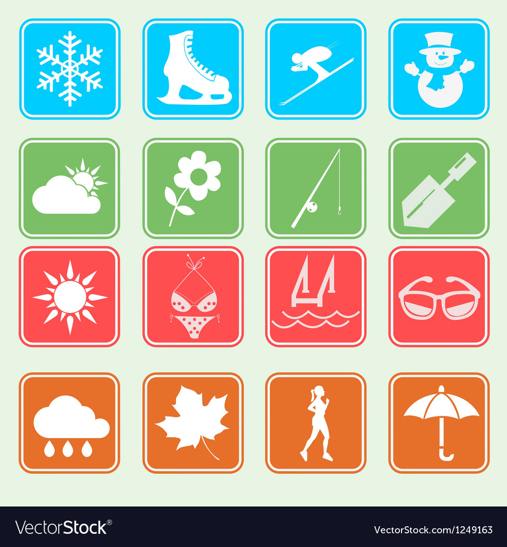 Season weather and activity icon vector | Price: 1 Credit (USD $1)