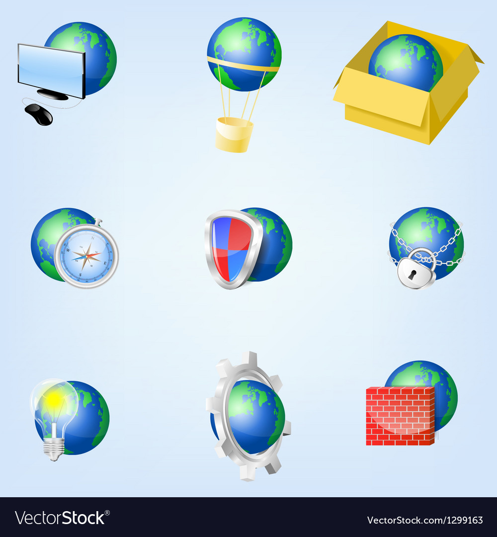 Set of globe icons showing earth eps10 vector | Price: 1 Credit (USD $1)