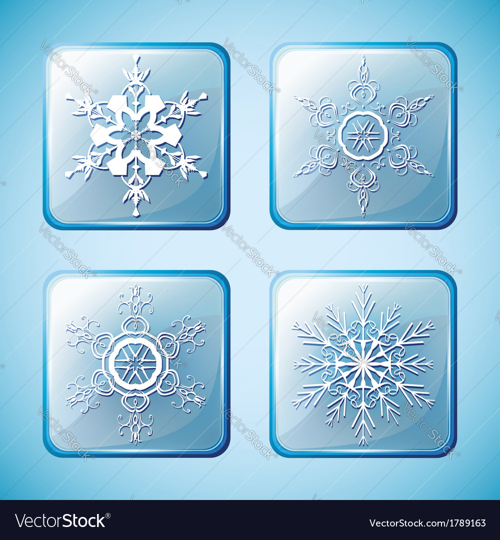 Set of winter icons with ornate snowflakes vector | Price: 1 Credit (USD $1)