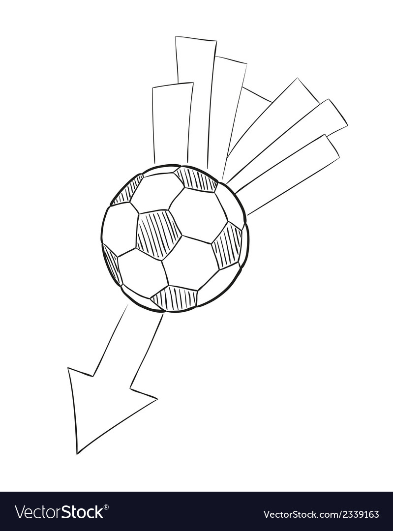 Sketch of the flying football ball with arrow vector | Price: 1 Credit (USD $1)