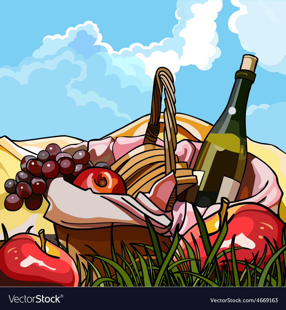 Still life picnic basket with fruit and a bottle vector