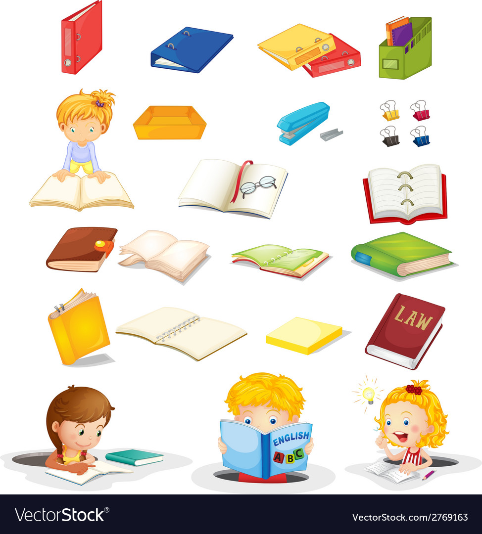 Students and their school supplies vector | Price: 1 Credit (USD $1)