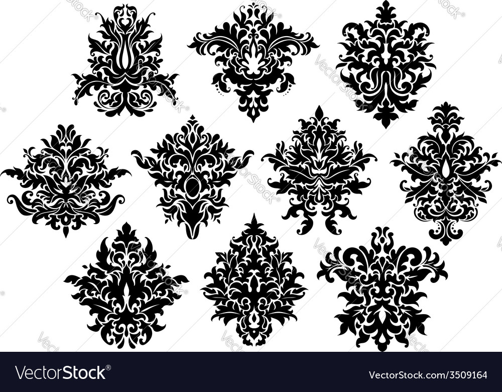 Abstract black flowers set vector | Price: 1 Credit (USD $1)