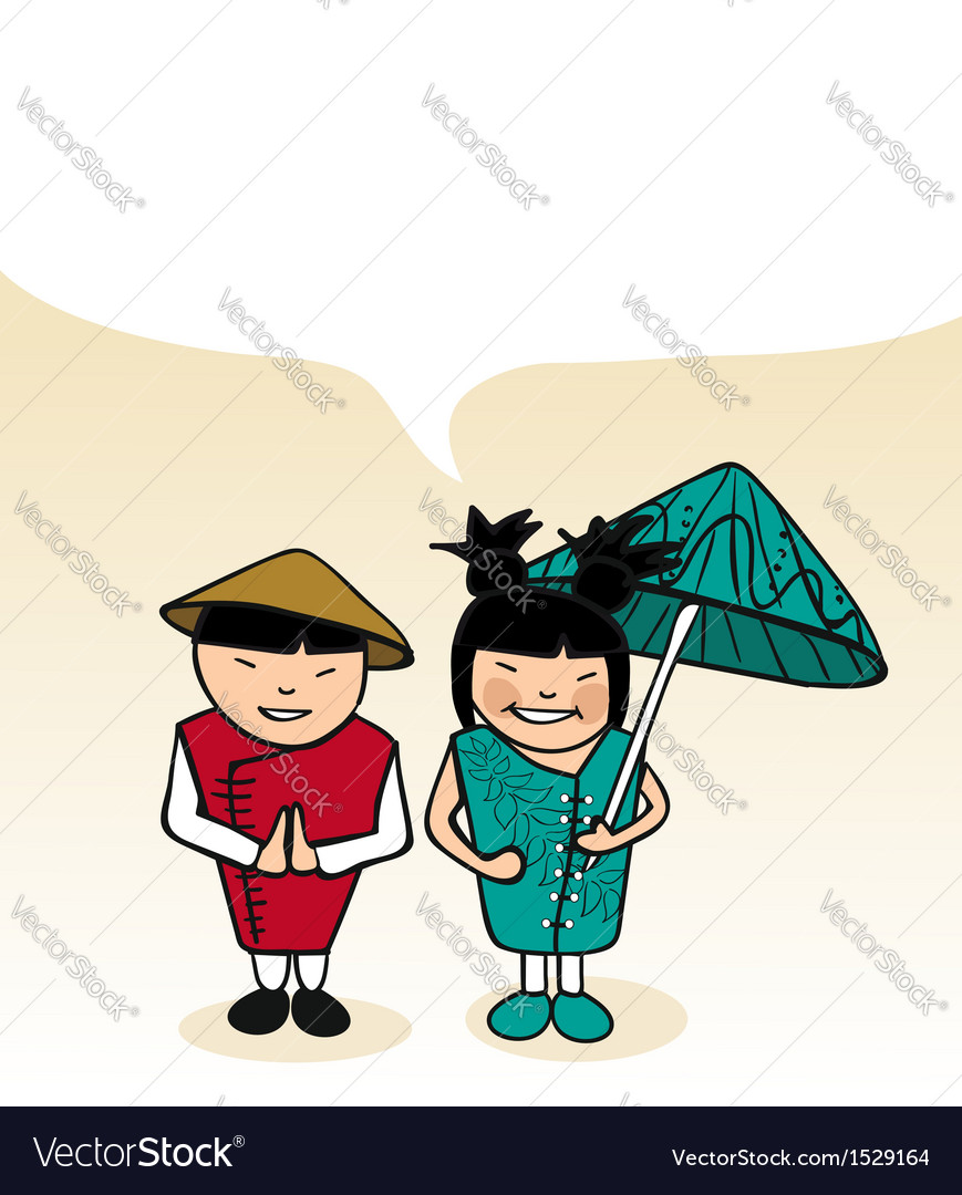 Chinese cartoon couple bubble dialogue vector | Price: 1 Credit (USD $1)