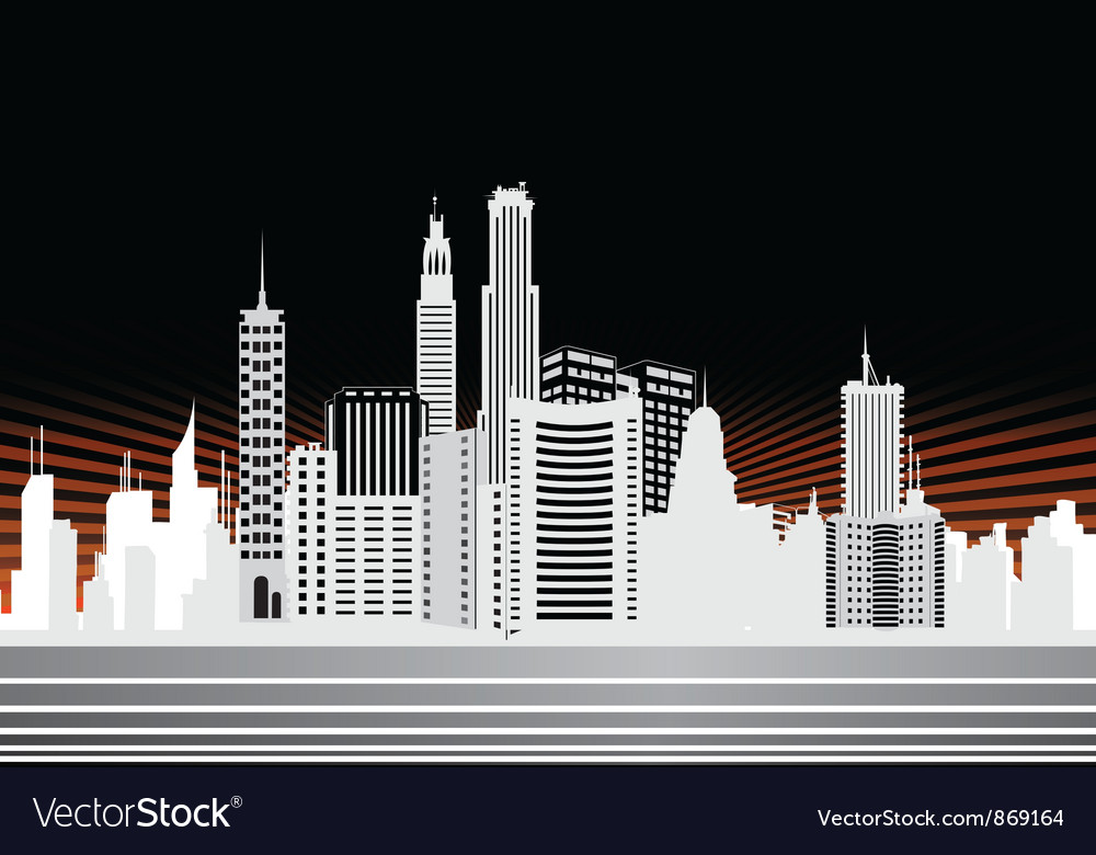 City with rays vector | Price: 1 Credit (USD $1)