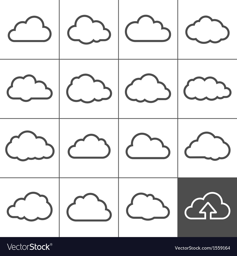 Cloud shapes collection vector | Price: 1 Credit (USD $1)