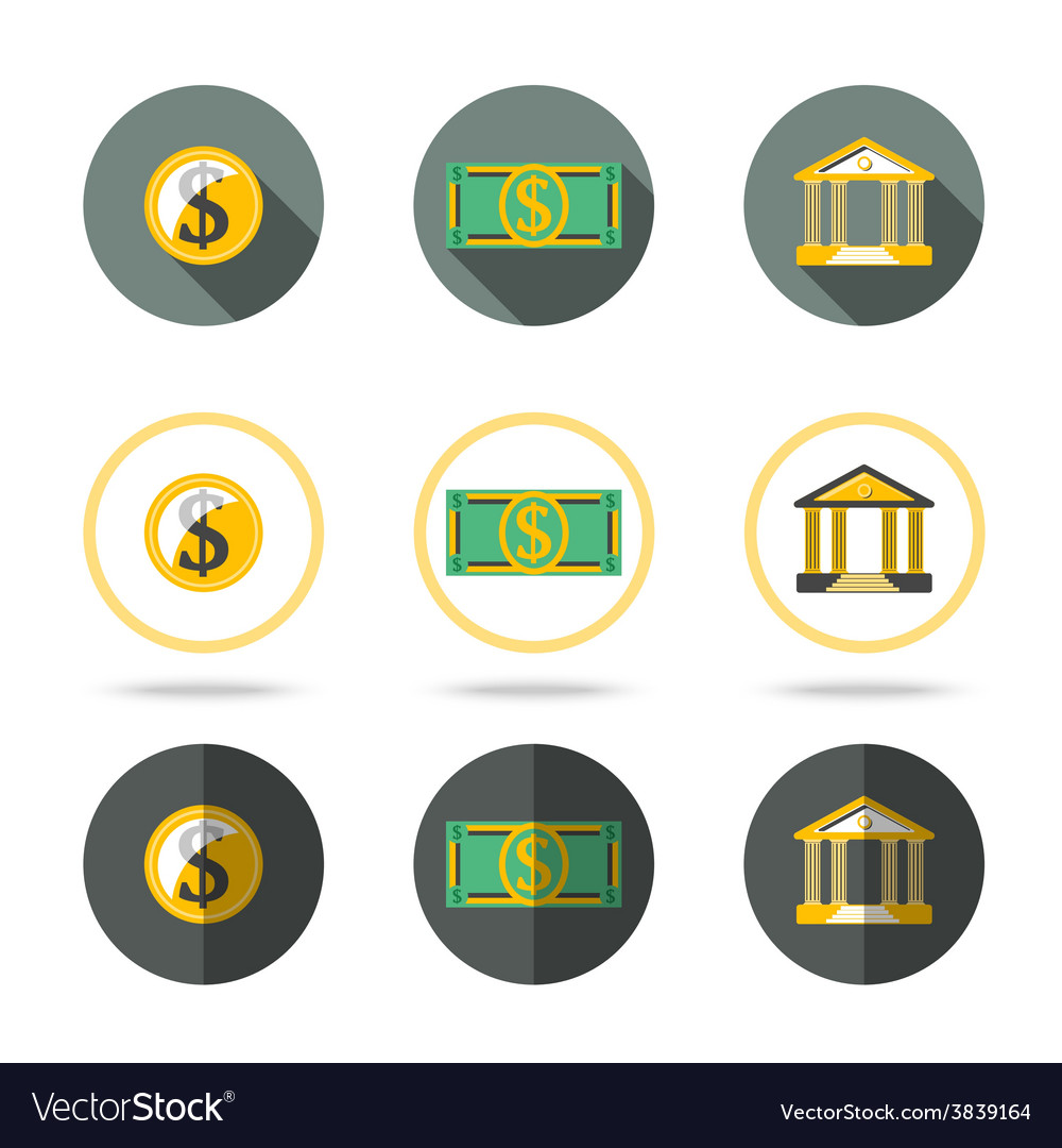 Money and banking icons set in different flat vector | Price: 1 Credit (USD $1)