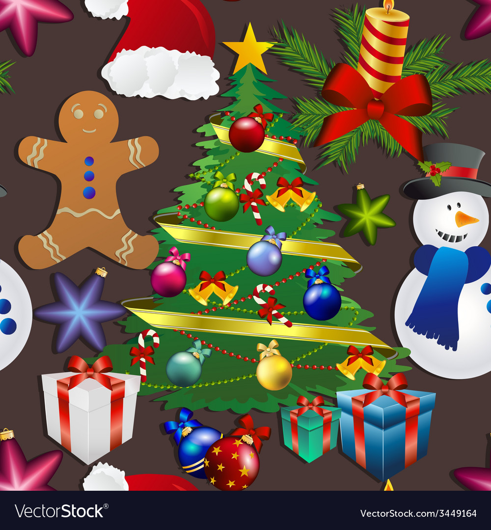 New year pattern with snowman christmas tree toy vector | Price: 1 Credit (USD $1)