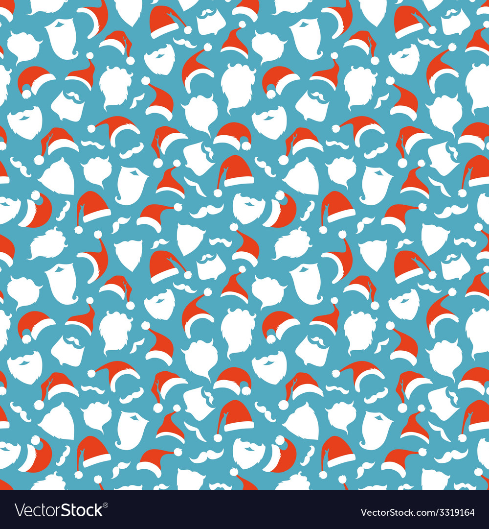 Seamless pattern of santa hats moustache and vector   Price: 1 Credit (USD $1)
