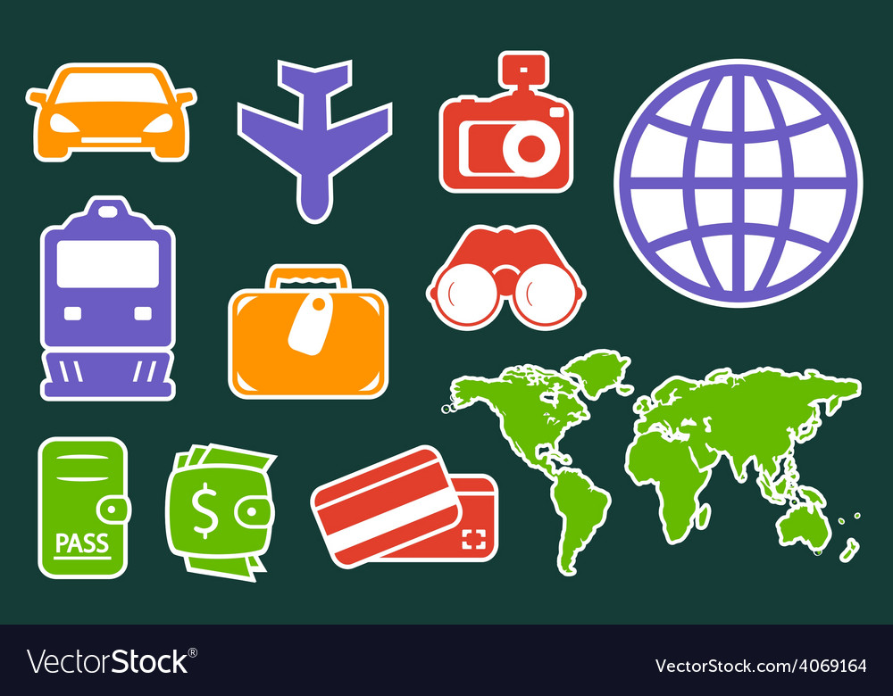 Set colorful icons for travel industry vector | Price: 1 Credit (USD $1)