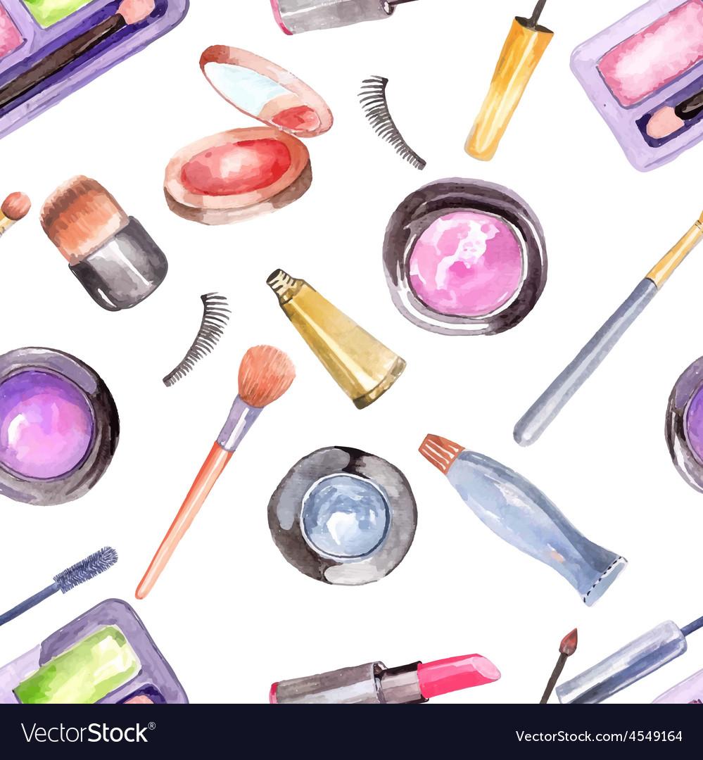 Watercolor cosmetics pattern vector