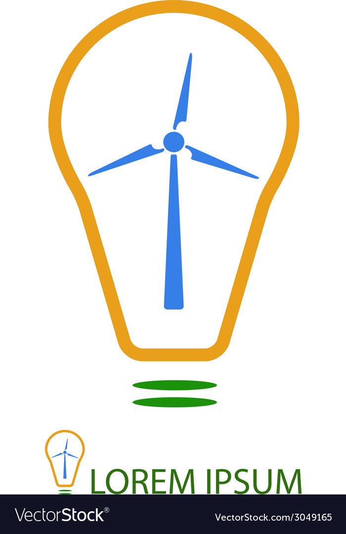 Bulb with wind turbine as eco energy sign vector | Price: 1 Credit (USD $1)