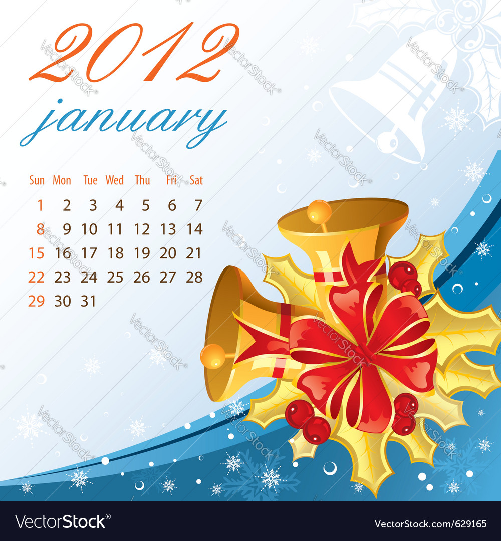 Calendar for 2012 january vector | Price: 1 Credit (USD $1)