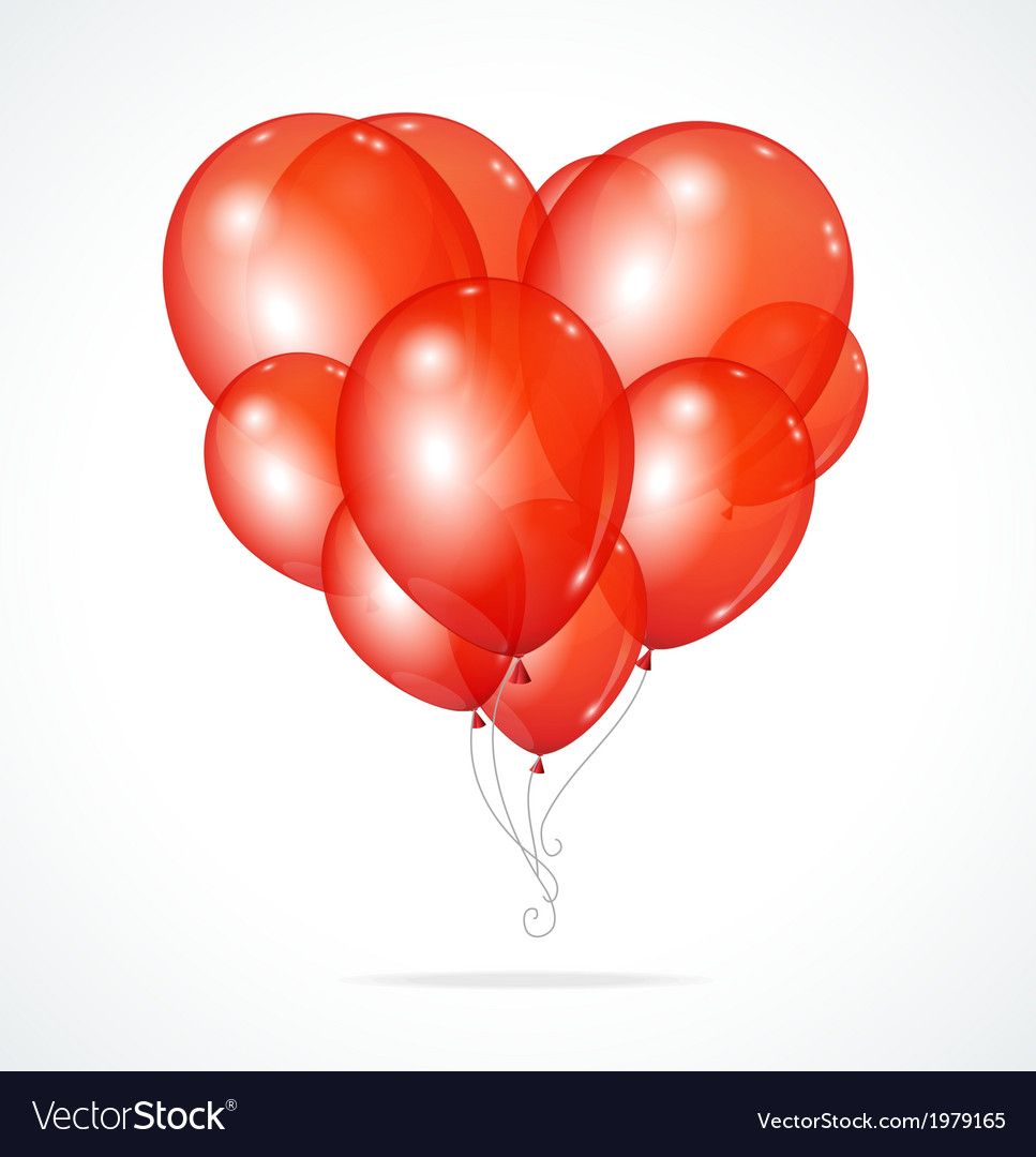 Color glossy balloons heart red vector | Price: 1 Credit (USD $1)