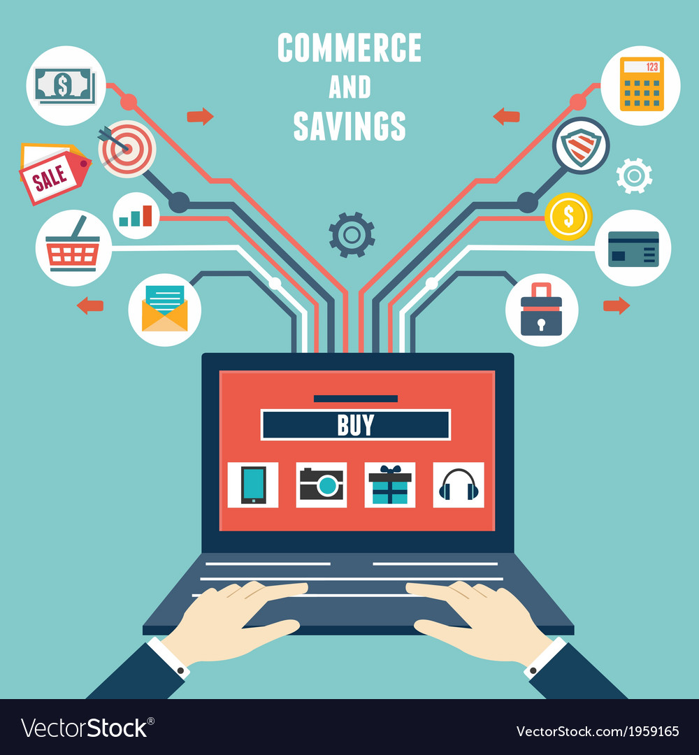 Concept of commerce and savings internet shopping vector | Price: 1 Credit (USD $1)