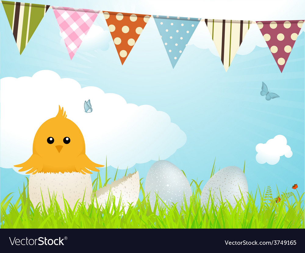 Easter chick and bunting vector | Price: 1 Credit (USD $1)
