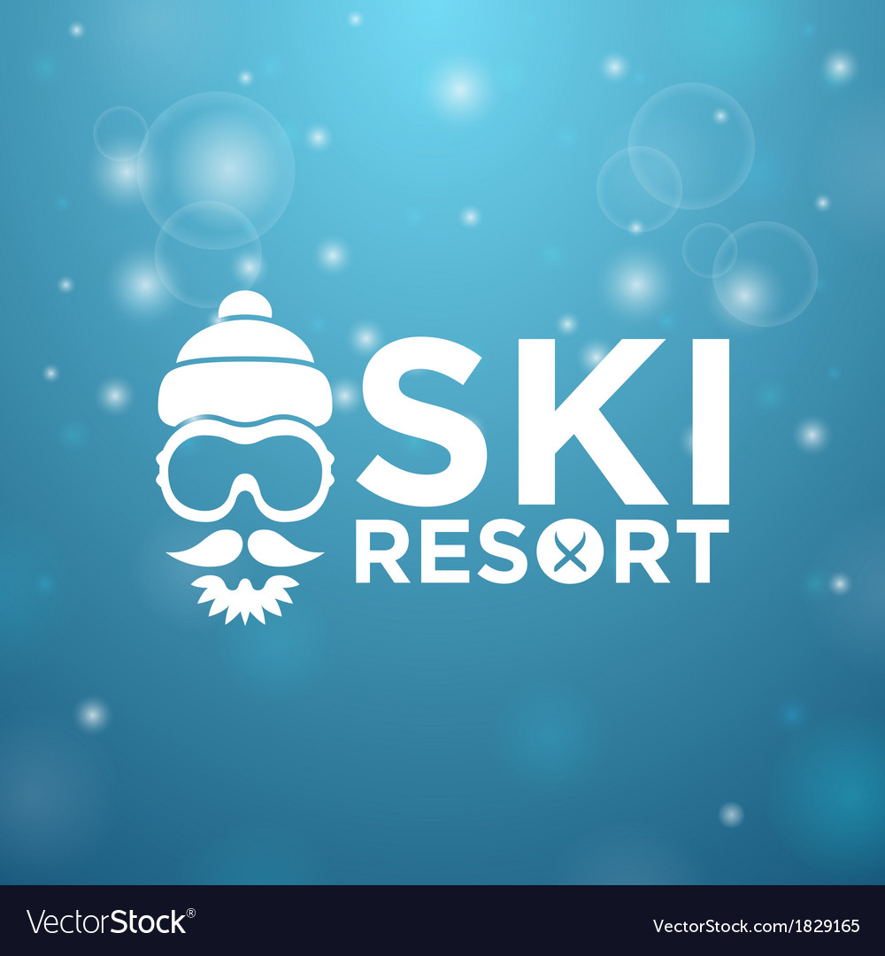 Face with ski goggles beard and mustache on blue vector | Price: 1 Credit (USD $1)