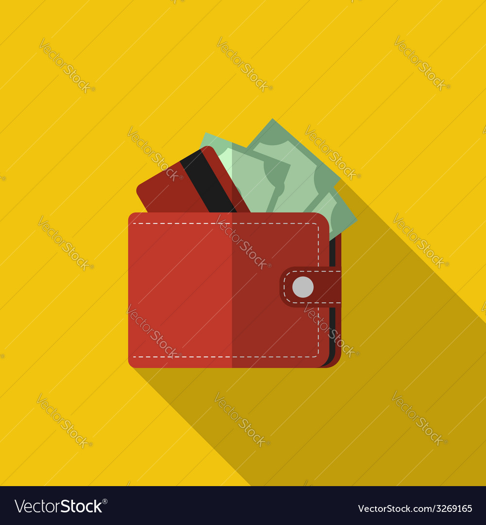 Flat wallet with card and cash with long shadow vector