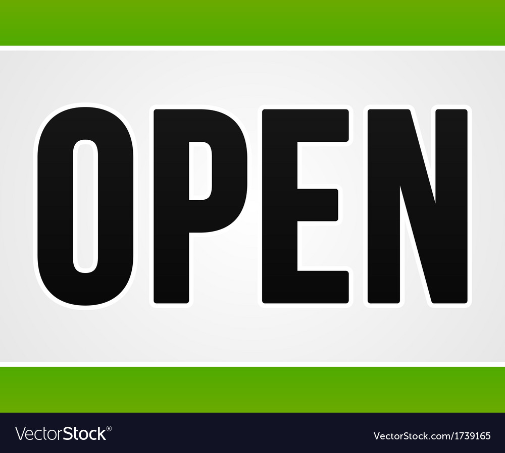 Green open sign vector | Price: 1 Credit (USD $1)
