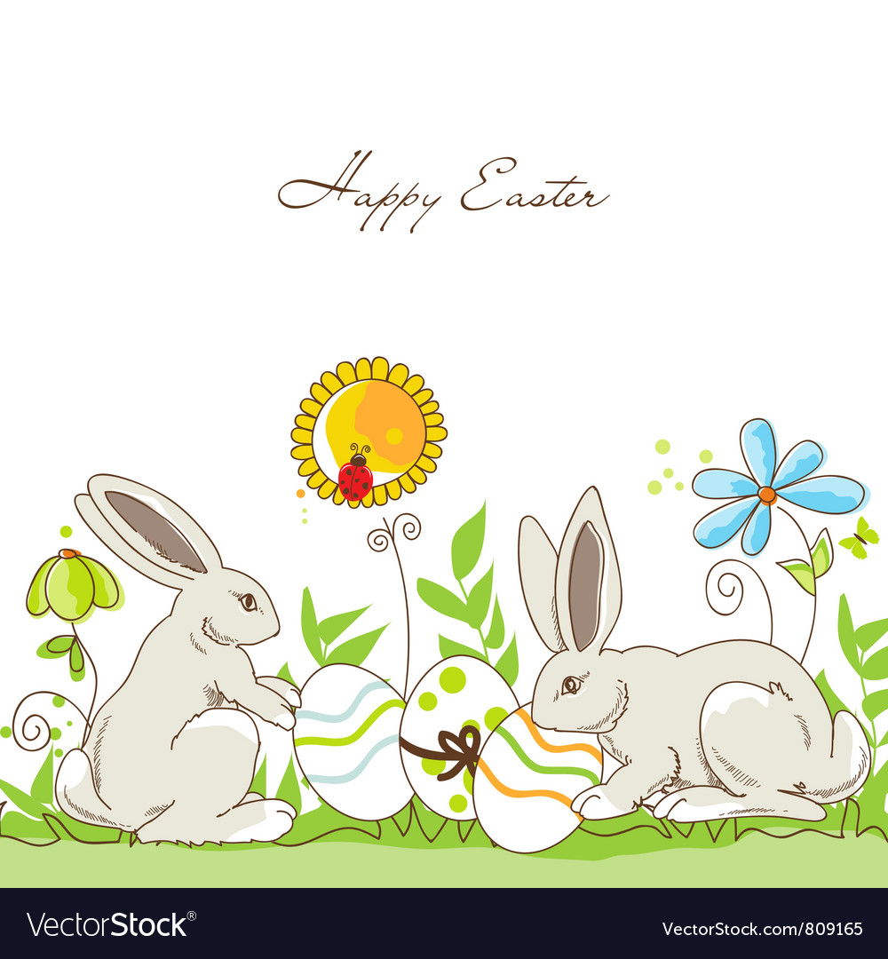 Happy easter rabbits vector | Price: 1 Credit (USD $1)