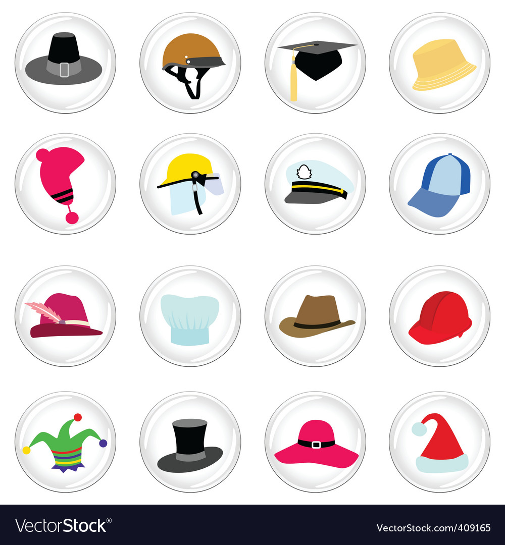 Hat with button vector | Price: 1 Credit (USD $1)