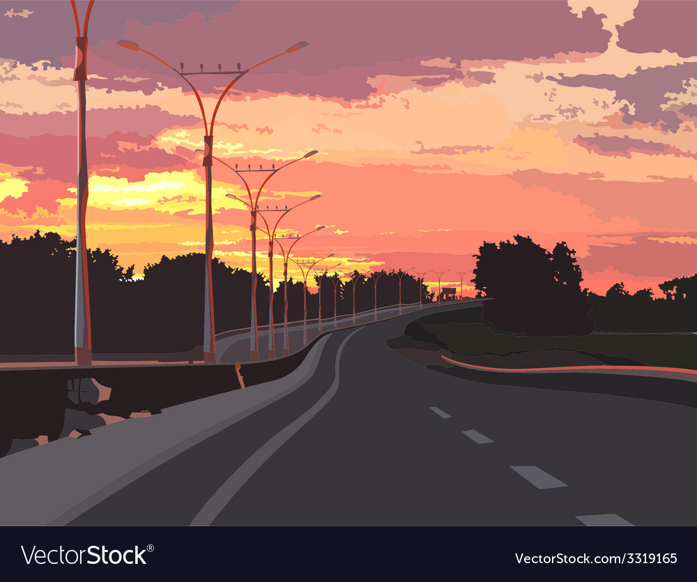 Highway on a background of pink sunset vector | Price: 1 Credit (USD $1)