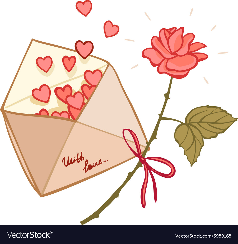 Letter filled with hearts and a rose vector