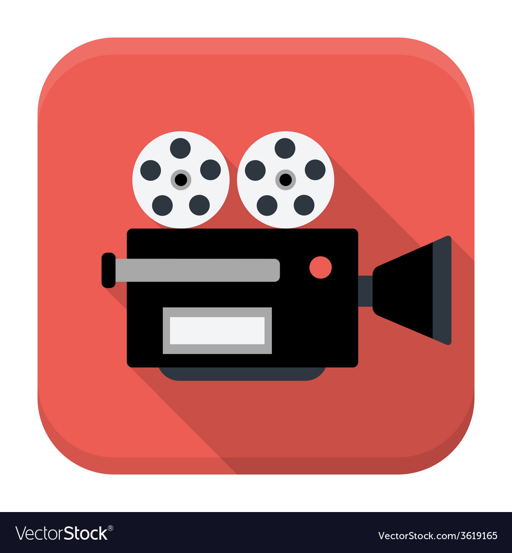 Movie camera flat app icon with long shadow vector | Price: 1 Credit (USD $1)