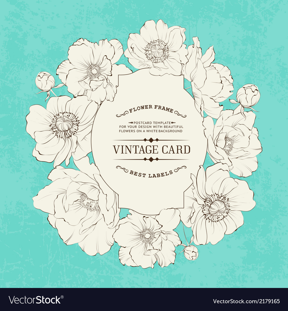Poppies vintage card vector | Price: 1 Credit (USD $1)