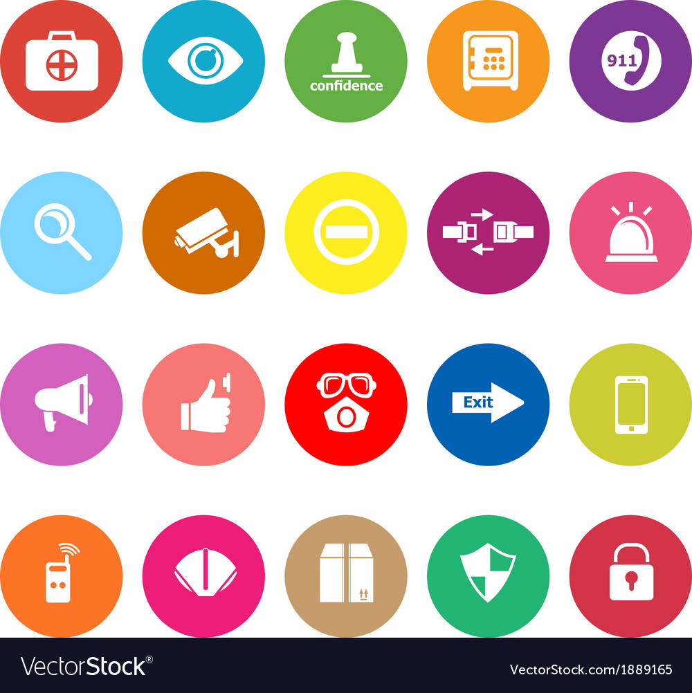 Security flat icons on white background vector | Price: 1 Credit (USD $1)