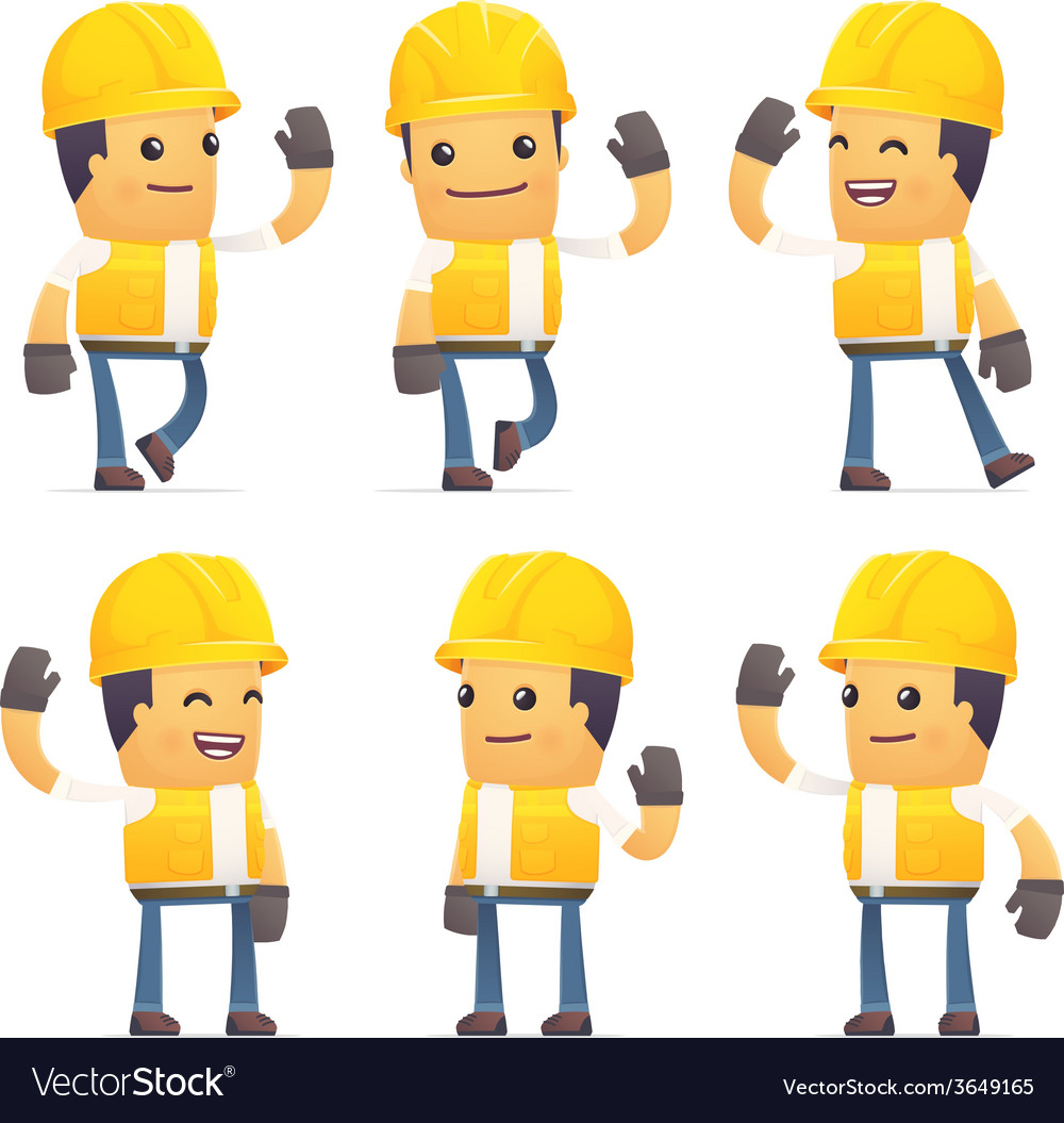 Set of contractor character in different poses vector   Price: 3 Credit (USD $3)