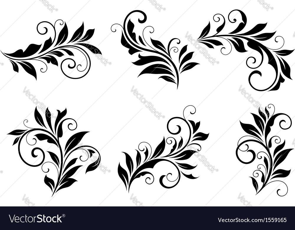 Set of floral design elements vector | Price: 1 Credit (USD $1)