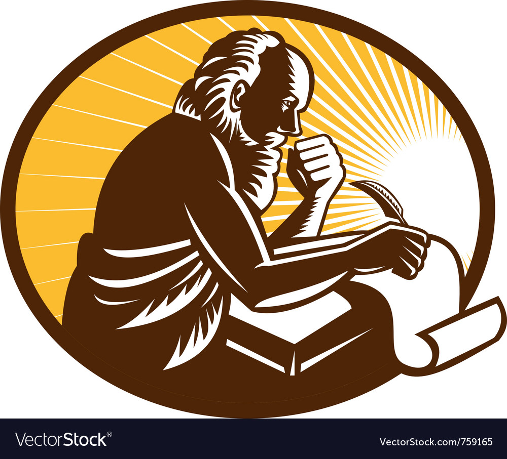 St jerome old male saint writing vector | Price: 1 Credit (USD $1)