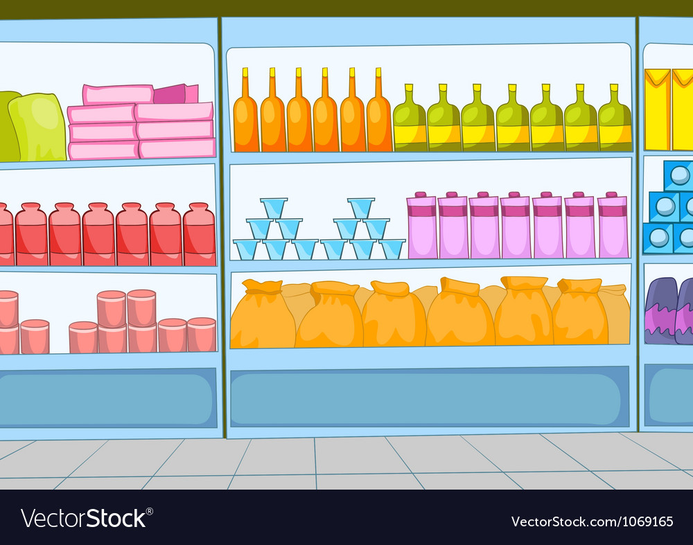 Supermarket cartoon vector | Price: 1 Credit (USD $1)