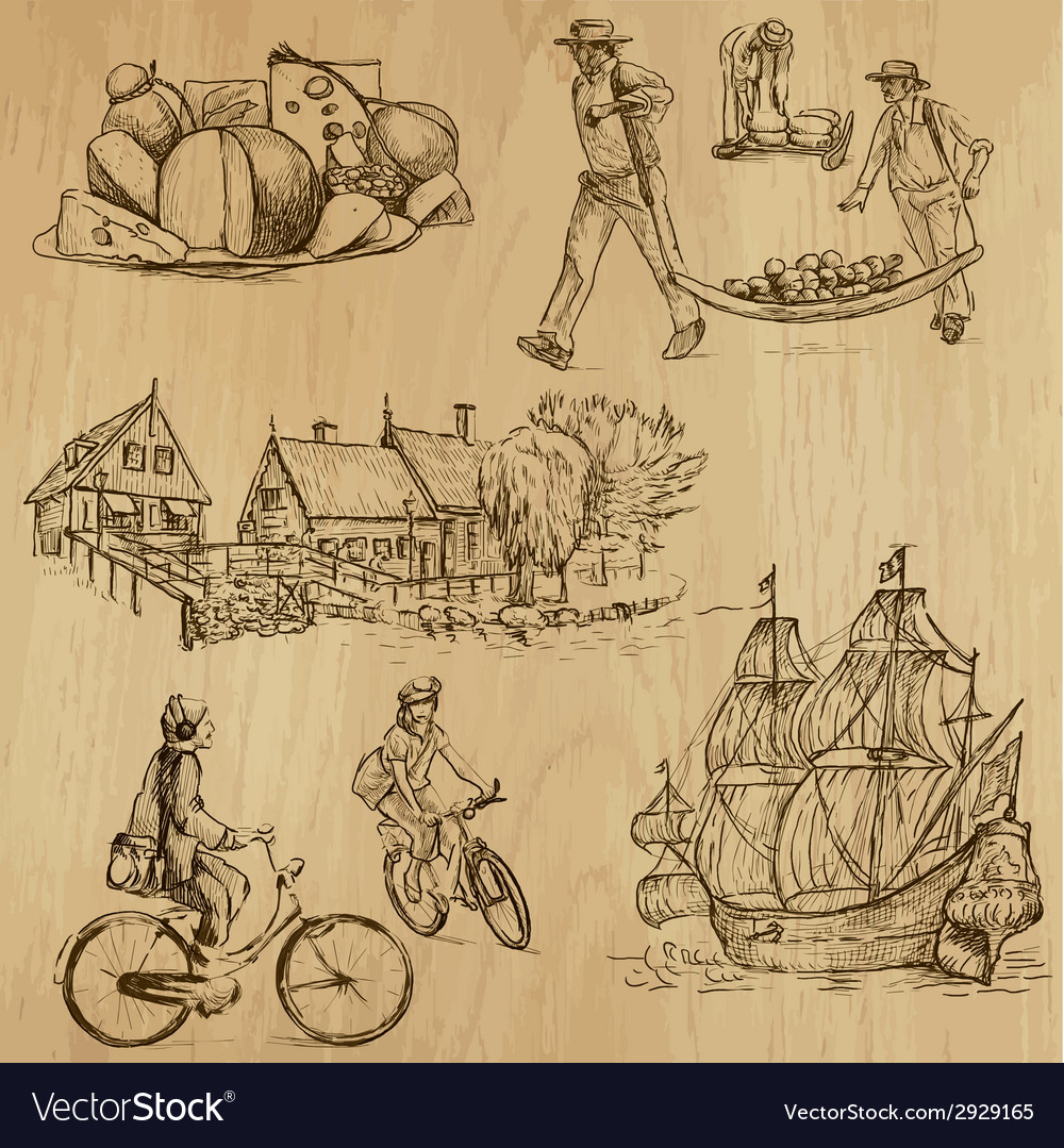 Traveling holland - an hand drawn pack vector | Price: 1 Credit (USD $1)