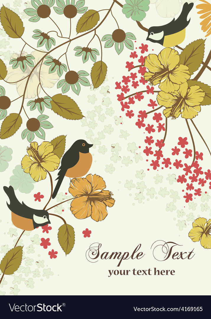 Vintage invitation card with birds and flowers vector | Price: 1 Credit (USD $1)