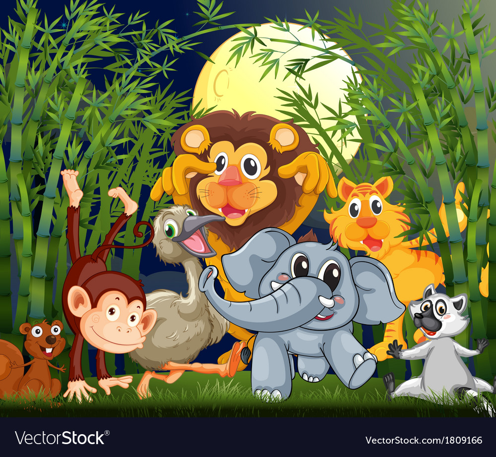 A rainforest with animals strolling in the middle vector | Price: 1 Credit (USD $1)