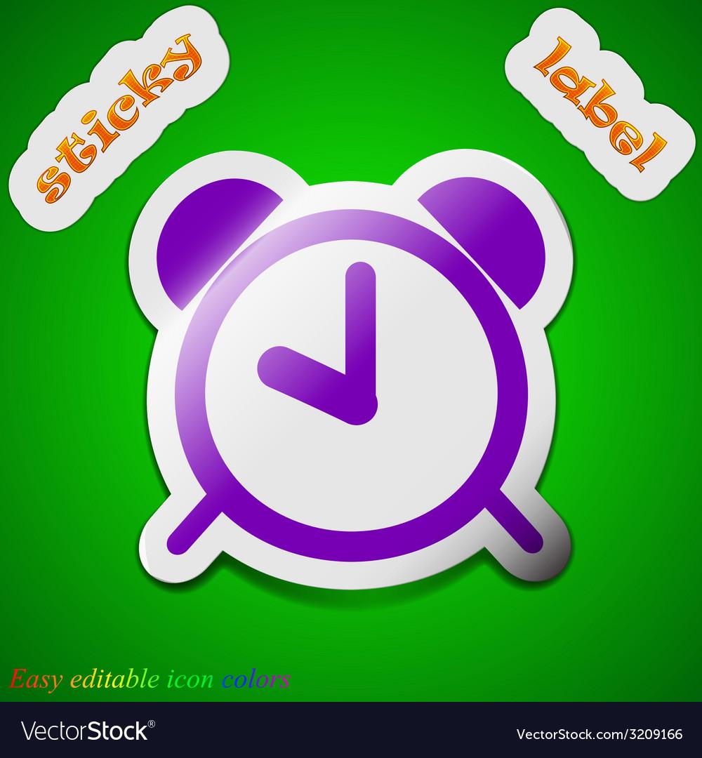 Alarm clock icon sign symbol chic colored sticky vector | Price: 1 Credit (USD $1)