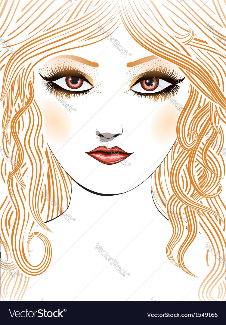 Beauty girl face with yellow hair vector | Price: 3 Credit (USD $3)