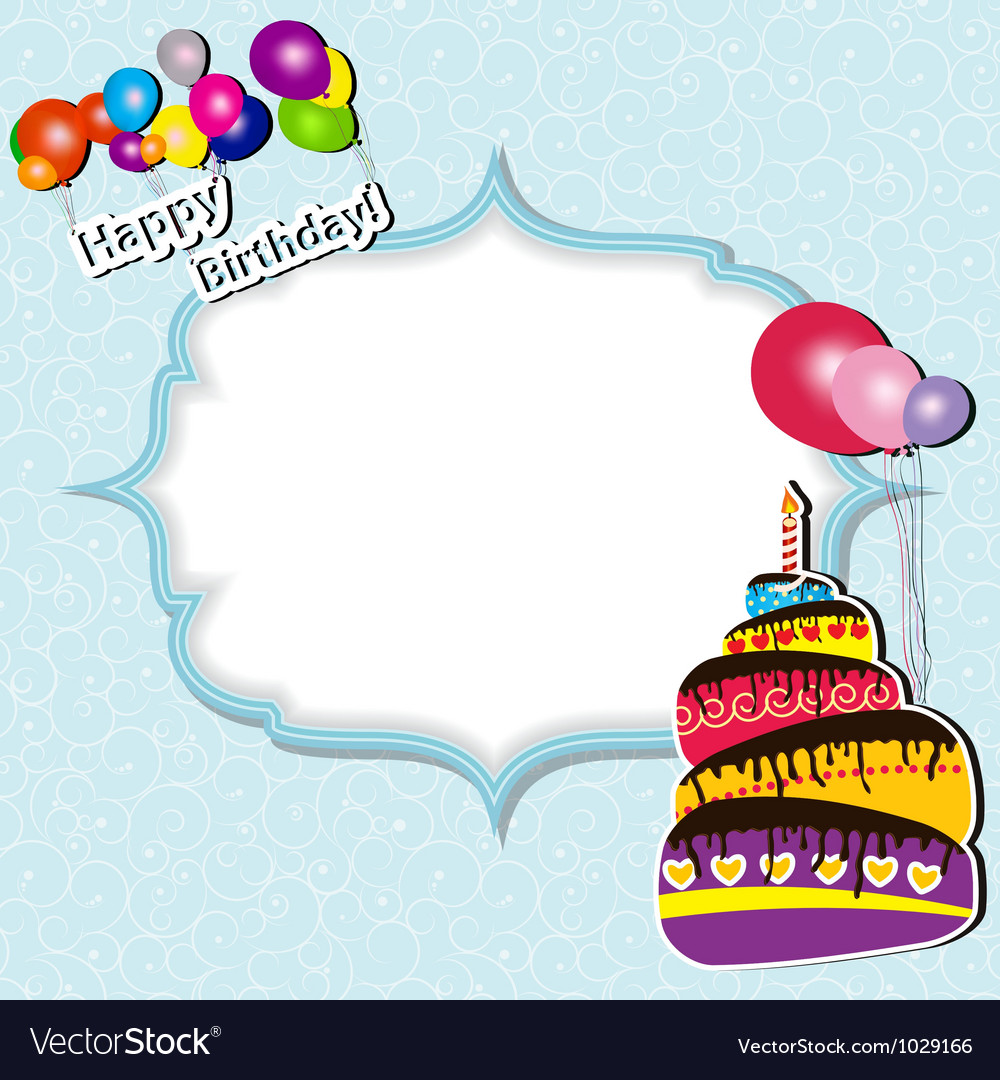 Birthday card with cake and balloons vector | Price: 1 Credit (USD $1)