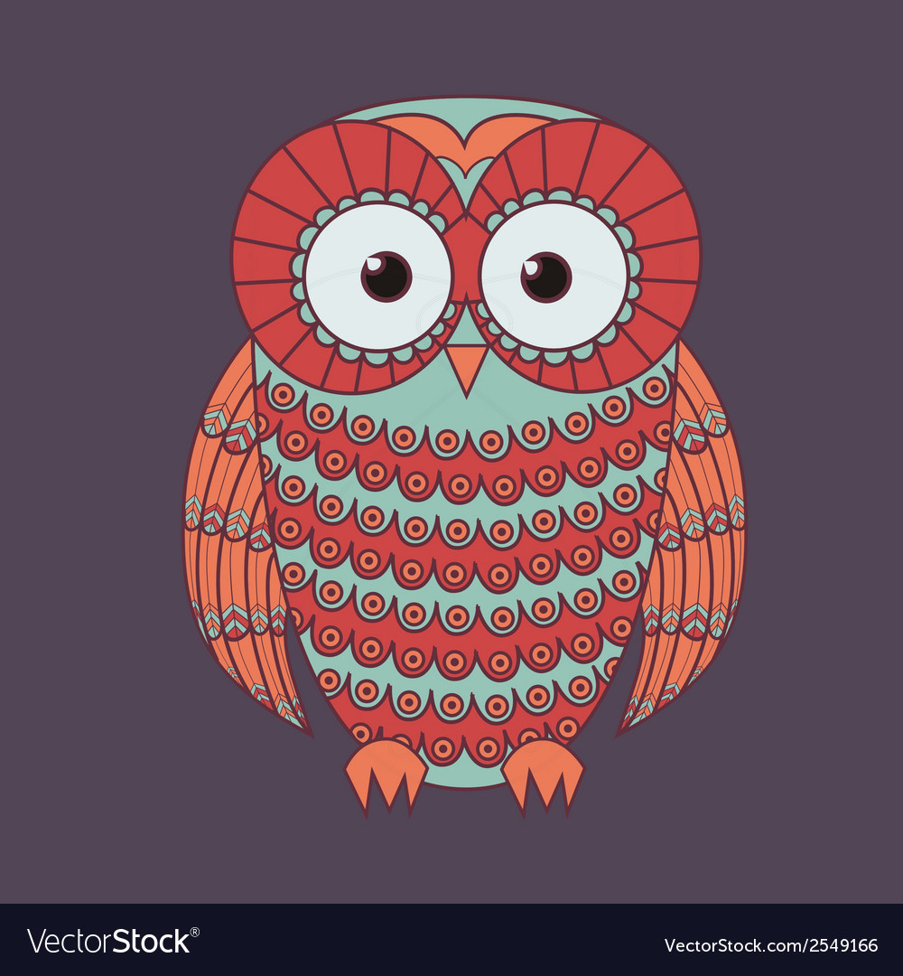 Decorative cute owl vector | Price: 1 Credit (USD $1)