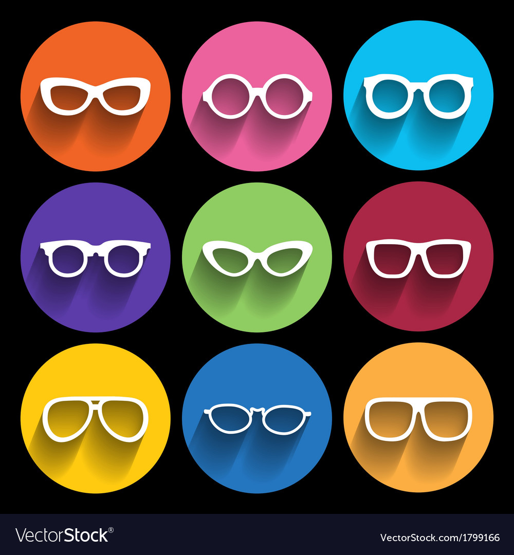 Glasses frame icons vector | Price: 1 Credit (USD $1)