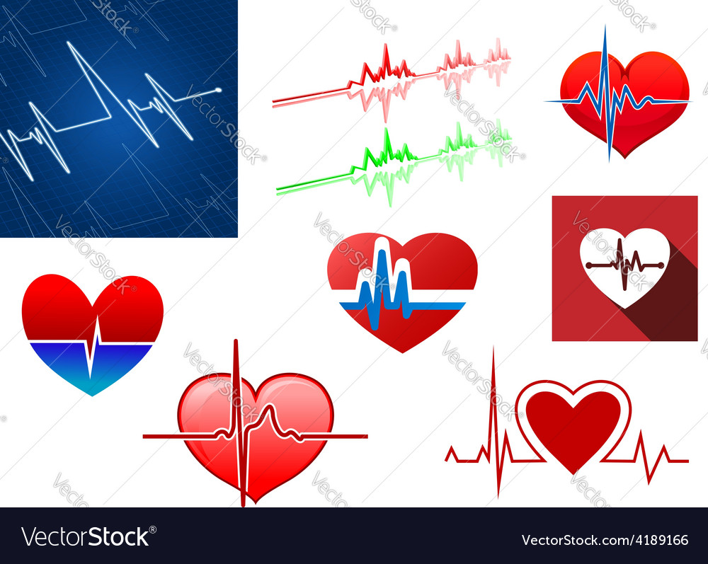 Hearts with beat frequency icons vector | Price: 1 Credit (USD $1)