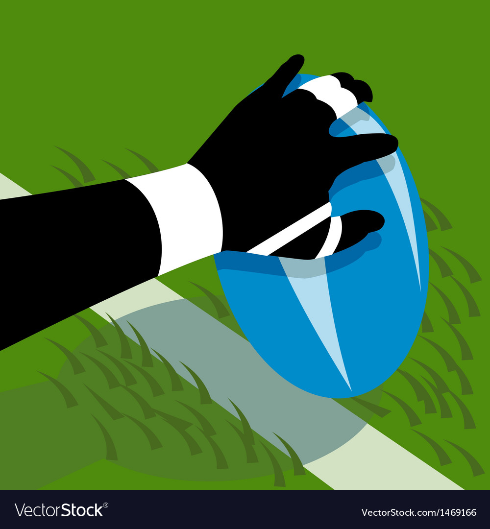 Rugby player hand scoring a try on line vector | Price: 1 Credit (USD $1)