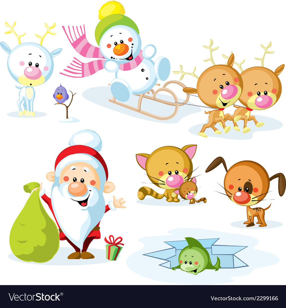 Santa claus with snowman cute christmas animals - vector | Price: 1 Credit (USD $1)